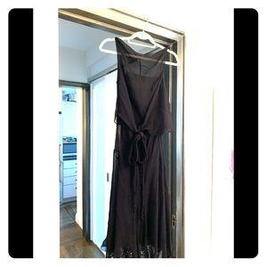 Prada black slip and chiffon mid-length dress